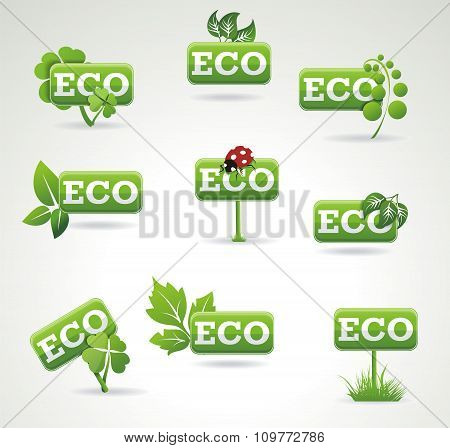Ecology Icon Set. Set Of Green Labels With Leaves For  Eco Products.