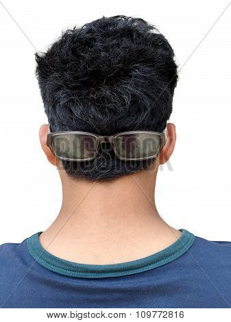 Back Of Young Man In Glasses