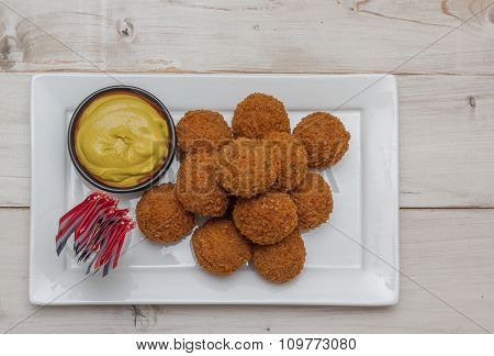 Dutch Snack Bitterballen With Little Dutch Flags