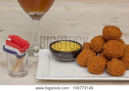 Dutch Snack Bitterballen With Little Flags And Beer