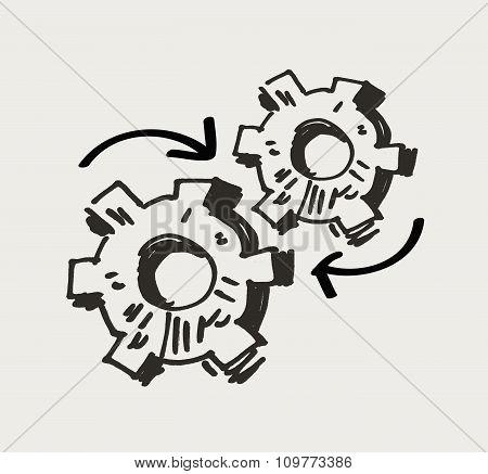 gear mechanism or work. doodle. vector illustration