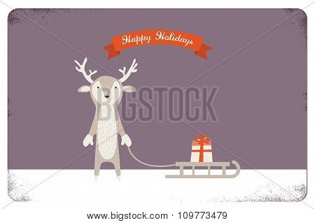 merry christmas card design. cute deer holding a sled with a present