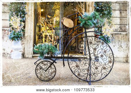 Xmas street decoration with vintage bike