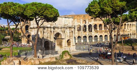 Colosseo and arco di Costantino,  Rome