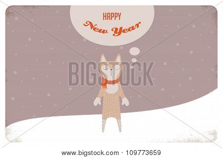 Christmas card of winter cat or a fox with scarf