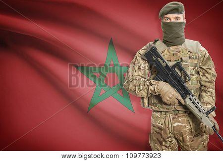 Soldier Holding Machine Gun With Flag On Background Series - Morocco