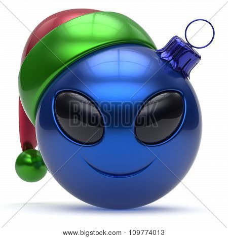Emoticon Christmas Ball Smiley Alien Face Happy New Year