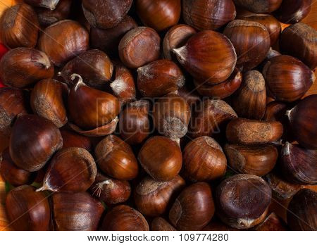 Group of chestnuts illuminated by a light side. Autumn background.