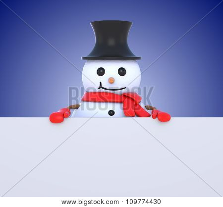 Small Snowman Behind White Board