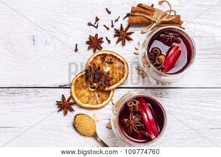 Christmas Mulled Wine On A White Rustic Wooden Table