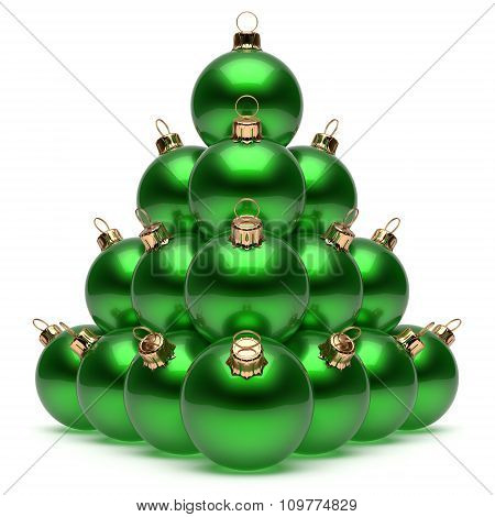 Christmas Balls Pyramid New Year's Eve Green Baubles Group