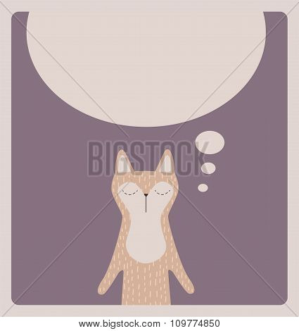 Cute thinking cat card design.