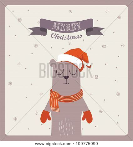 Christmas greeting card. cute bear with scarf and gloves