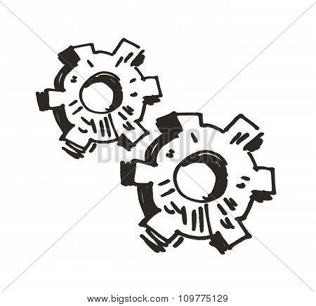 Gears. Doodle. Vector illustration