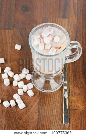 Top view to the hot chocolate with marshmallows