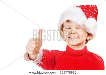 Funny Boy In A Christmas Hat  Isolated On White Background.