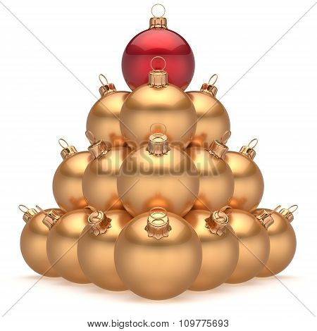 Christmas Ball Golden Pyramid Leader Red On Top First Place