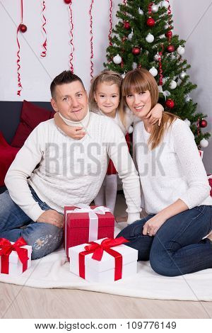 Christmas Family Portrait In Decorated Living Room