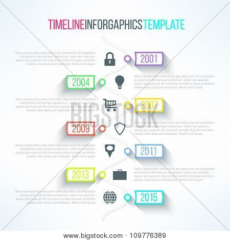 Vector timeline briht template colorful infographic suitable for business presentations, reports, st