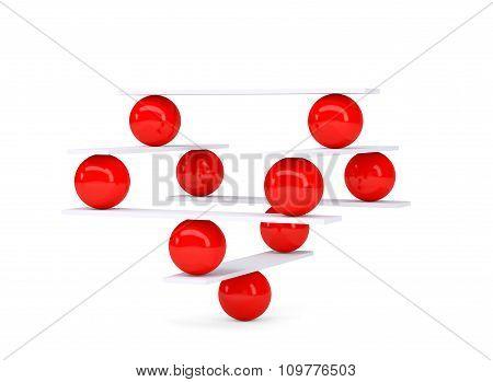 Red balls, balance on white