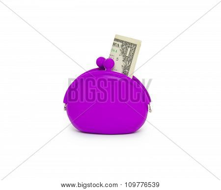 Purse With One Dollar Banknote Isolated On White Background Cutout
