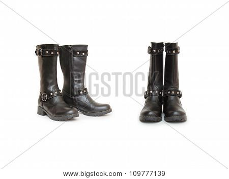 Stylish Women's Boots Isolated On White