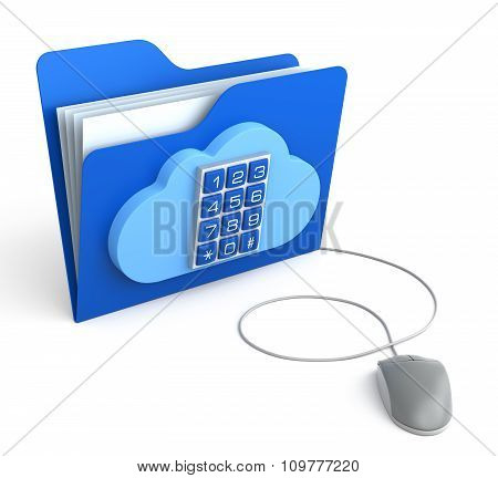 Cloud Computing Folder With Security Button With Computer Mouse
