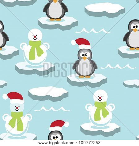 Vector Seamless Pattern With Penguin And Snowman On Ice Floe