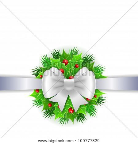 White Ribbon,  Bow And Holly Berry On White Background