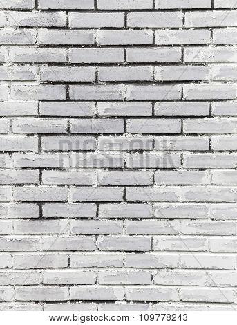 White Brick Wall, Closeup Vertical Background Texture