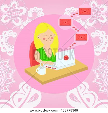 Girl Sitting With A Laptop At The Table And Gets Love Letters. Vector