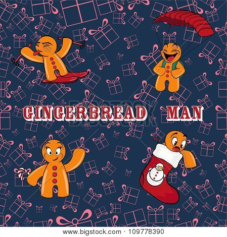 Vector Set Of Gingerbread Men.