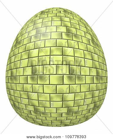Gold egg isolated on a white background. Celebrating Easter