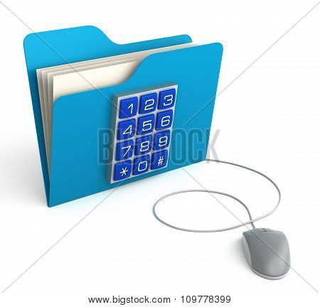 Folder With Security Button With Computer Mouse