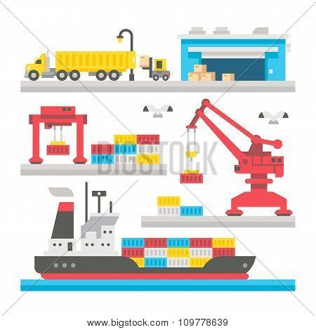 Flat Design Cargo Port Equipment