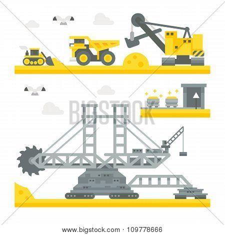Flat Design Mining Site Equipment