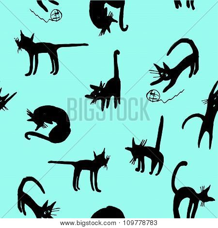 background seamless pattern funny cartoon silhouettes of black cats hand drawn sket