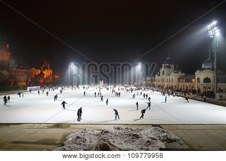 BUDAPEST, HUNGARY - DECEMBER 16: City Park ice rink on December 16, 2014 in Budapest, Hungary. It is Europe's largest outdoor ice rink.
