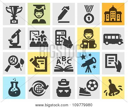 school, education set black icons. signs and symbols