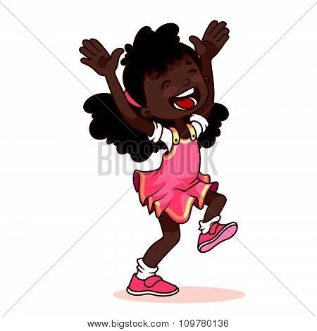 Very Happy African American Girl On A White Background.