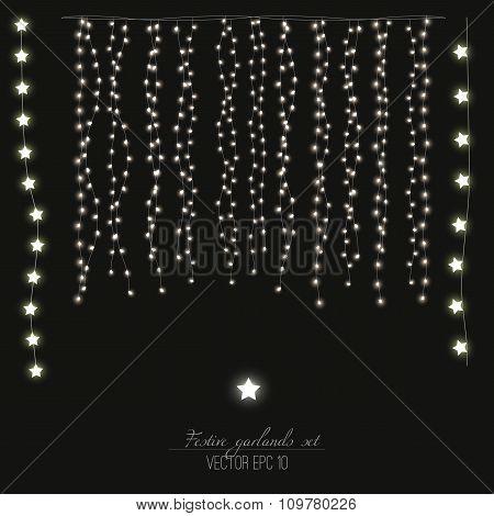 Festive garland lights set. Vector illustration EPS 10