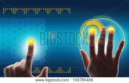 Humans hands touching blue holographic screen