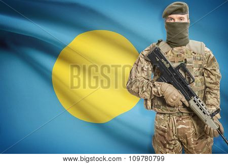 Soldier Holding Machine Gun With Flag On Background Series - Palau