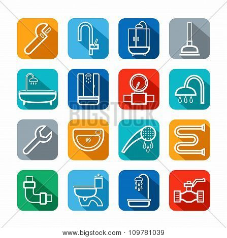 Plumbing, Icons, Line, Color ...