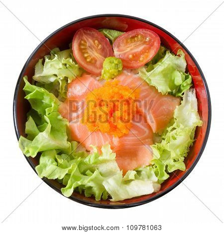 Bowl Of Boiled Rice Topping With Salmon And Vegetable