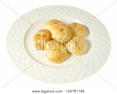 Choux Cream Filled With Mousse Cream On White Background