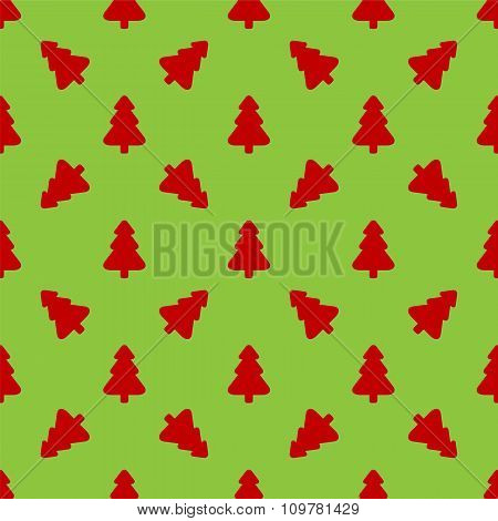Red Christmas tree on a green background.