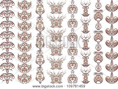 Ornament Indian Hand drawn henna mehndi tattoo doodle seamless borders ethnic decor vector set