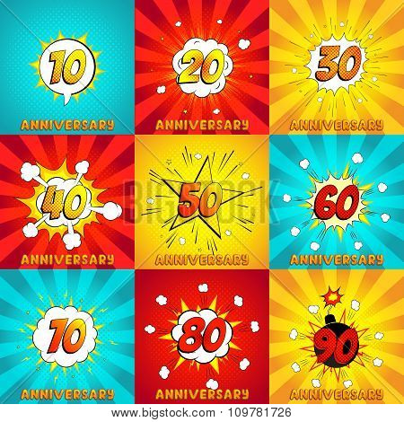 Set Of Cards To Anniversary In Pop Art Style