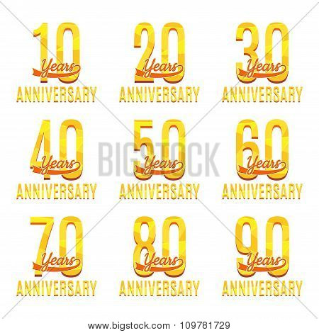 Set Of Happy Anniversary Labels